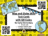 Map and Globe Skills Task Cards with QR Codes for Early Elementary