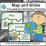 Map and Globe Vocabulary Matching Puzzles