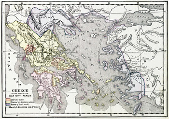 Map of Ancient Greece during the Persian Wars