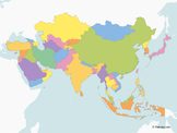 Map of Asia with multicolor Countries