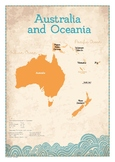 Map of Australia and Oceania Poster