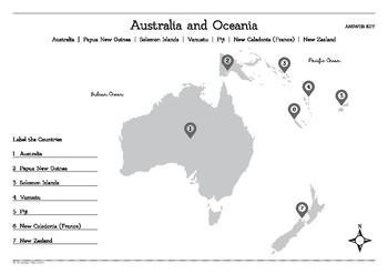 Map of Australia and Oceania Worksheet