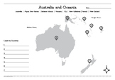 Map of Australia and Oceania Worksheet