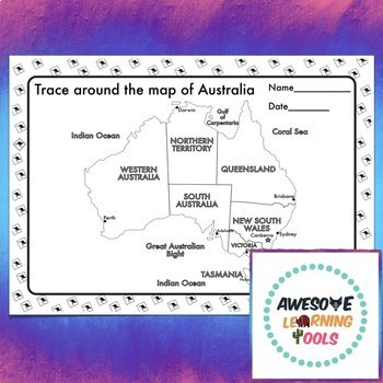 Young Australia Map.Map Of Australia Tracing Exercise Pen Control Early Learning