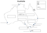 Map of Australia with blank labels