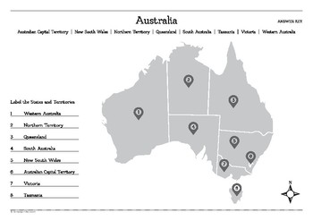 Map of Australian States and Territories Worksheet