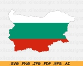 Map of Bulgaria with the Bulgarian National Flag - SVG PNG JPG PDF EPS AI