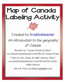 Map of Canada Activity & Assignment