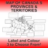Map of Canada Provinces and Territories - Label and Colour
