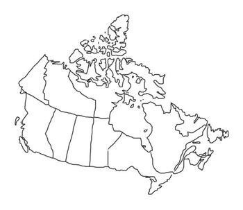 Canada Province Map Outline Map of Canada outline sketch with highlighted provinces