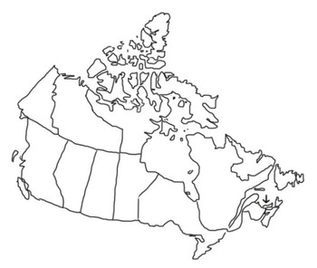 Map of Canada outline sketch with highlighted provinces & territories clip art