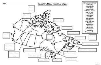 Map of Canada's Major Bodies of Water For Students to Label and Colour