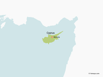 Map of Cyprus with Neighbouring Countries