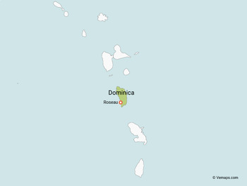 Map of Dominica with Neighbouring Countries