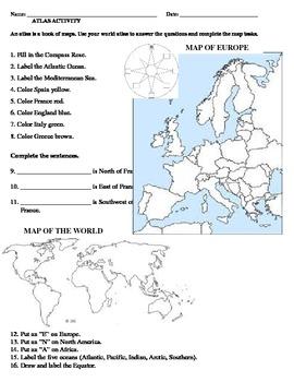 Map of Europe -- Atlas Activity