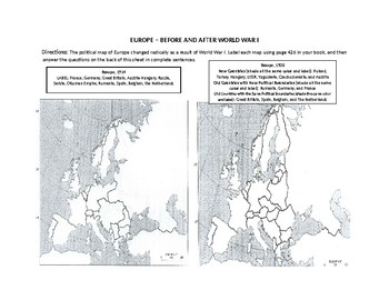Map of Europe Before and After World War I