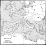 Map of Europe, c.525 CE