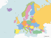 Map of Europe with multicolor Countries