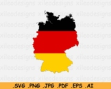 Map of Germany with the German National Flag - SVG PNG JPG PDF EPS AI