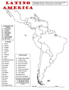 Map of Latin America - Mapa de Latino America