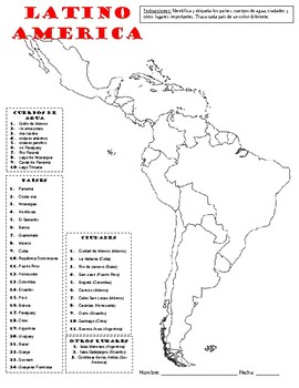 Map Of Latin America Teaching Resources Teachers Pay Teachers