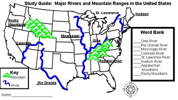 Map of Major Rivers and Mountain Ranges by Dunk\'s Fun | TpT