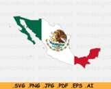 Map of Mexico with the Mexican National Flag - SVG PNG JPG PDF EPS AI