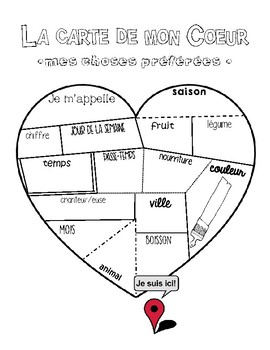 Map of My Heart - French Worksheet - La Carte de mon Coeur -