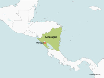 Map of Nicaragua with Neighbouring Countries