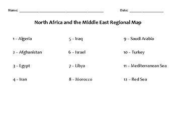 Map of North Africa and the Middle East Regional Map MOD