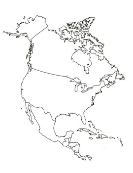 Map of North America, Central America and Caribbean