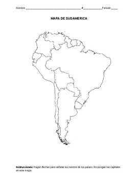 on south america fill in map