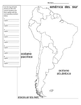 Map of South America Cornell Notes