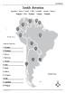 Map of South America Worksheet