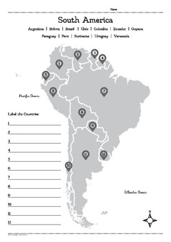 Map of South America Worksheet