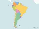 Map of South America with multicolor Countries