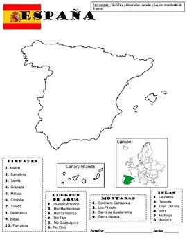 Map Of Spain To Label.Map Of Spain Mapa De Espana