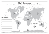 Map of The Continents Worksheet