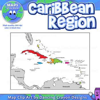 Map of the Caribbean Region by Maps of the World | TpT