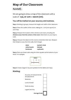 Map of the Classroom scale activity for Geography
