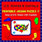 Map of the U.S. with Capitals - Printable Jigsaw Puzzle -