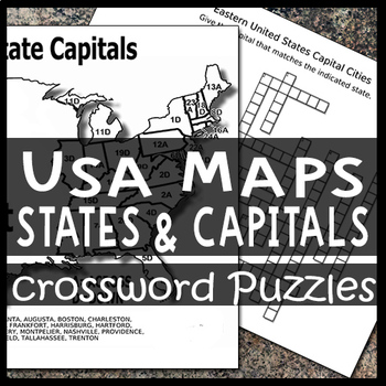 Map of the USA Crossword Puzzle Sheets