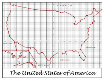 Map of the United States | USA Coordinate Plane Graphing | Partner ...