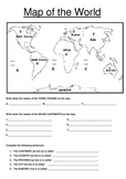 Map of the World Worksheet