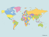 Map of the World with multicolor Countries (Miller projection)