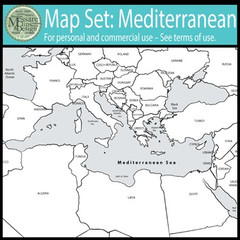 Map Clip Art: The Mediterranean Set {Messare Clips and Design}