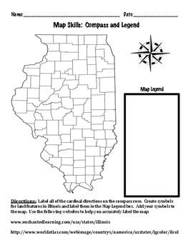 Map Skills Compass Rose Map Legend Land Features Internet - Us-map-legend