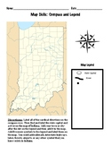 Map skills: compass rose and map legend using state of Indiana map