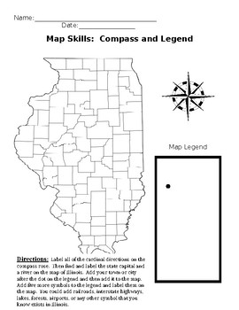 Map skills: compass rose and map legend using the state of Illinois map