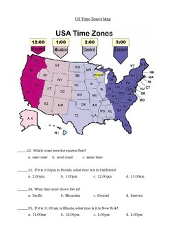 Map skills quiz  includes continents, oceans, scale, time zones, latitude & more